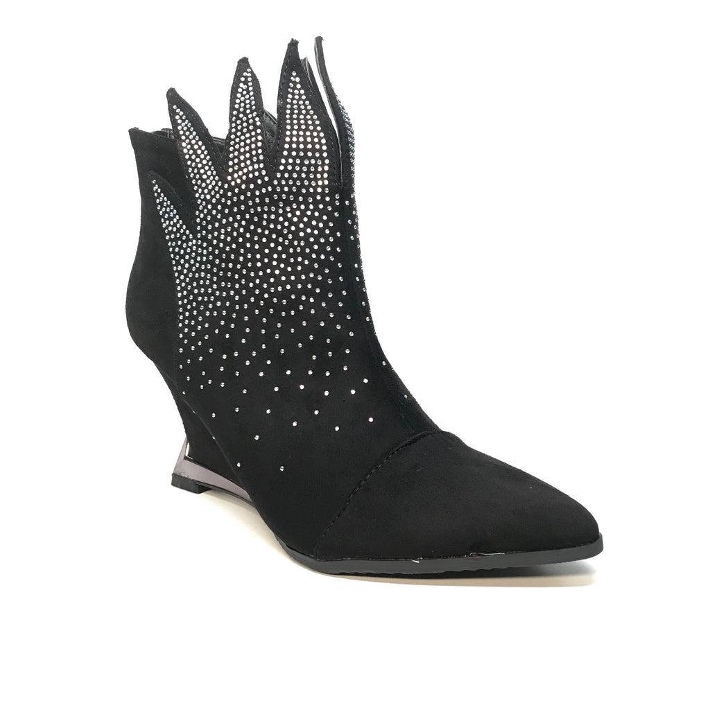 Lady Couture Black Flame Suede Crystal Bootie