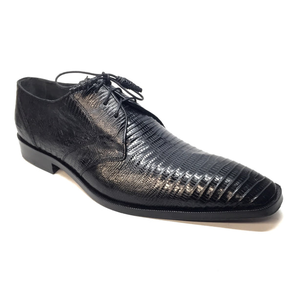 Los Altos Black Lizard Lace Up Dress Shoes