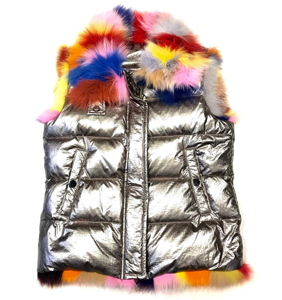 Kashani Custom Metallic Multi-Color Fox Fur Vest