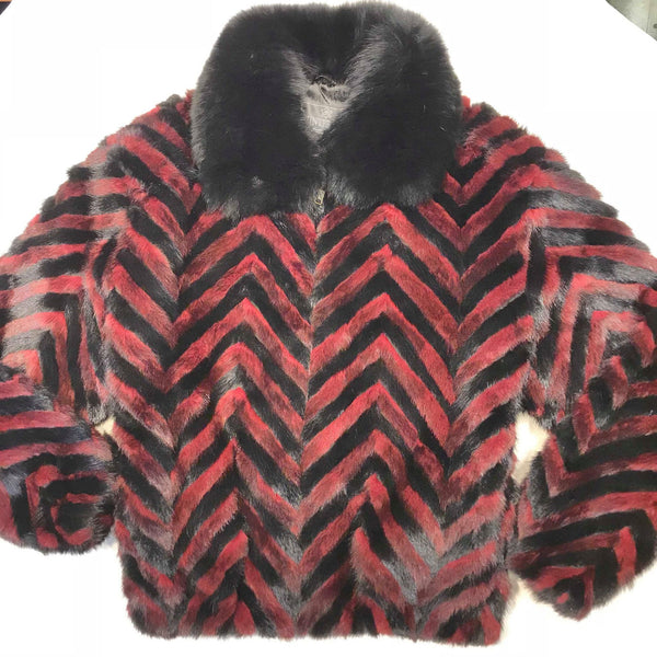Kashani Wine Red Black Mink Tail Fur Coat