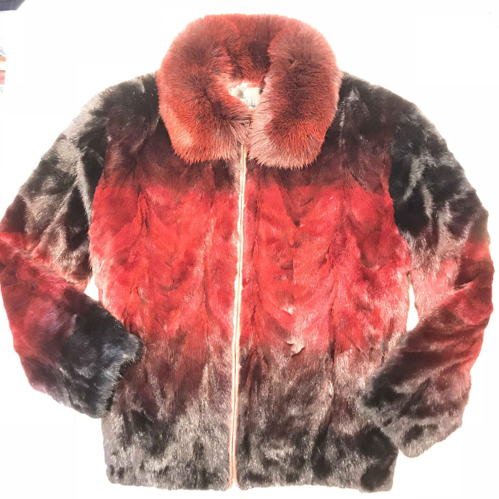 Kashani Ruby Red Two Tone Mink Tail Fur Coat