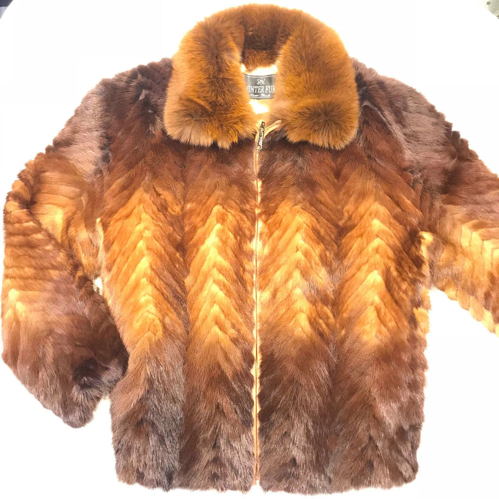 Kashani Cognac Two Tone Mink Tail Fur Coat - Dudes Boutique