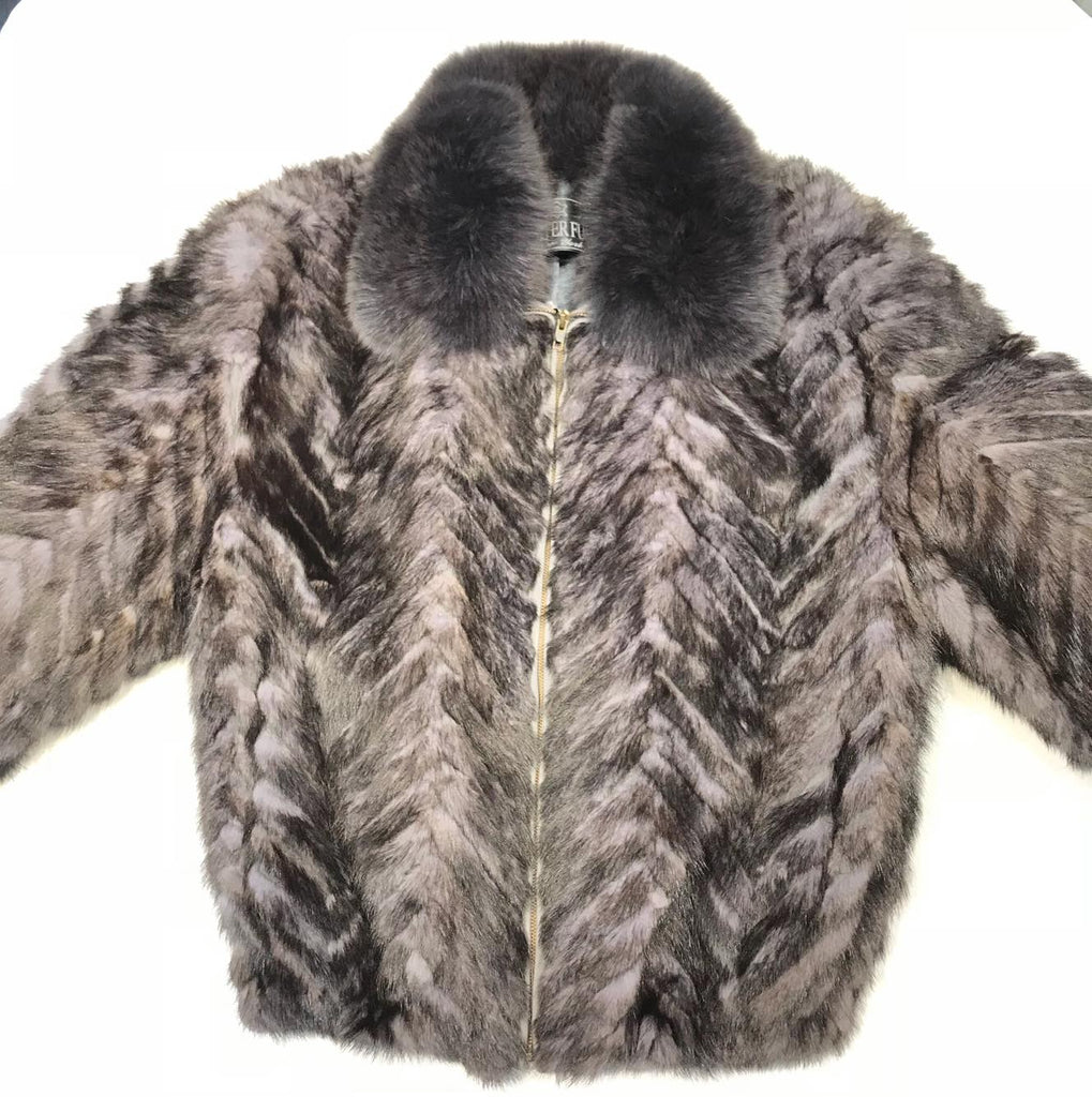 Kashani Charcoal  Mink Tail Fur Coat