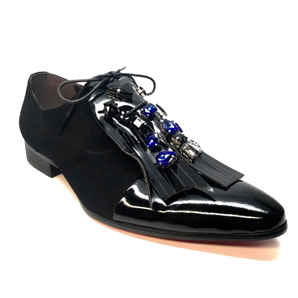 Fiesso Patent Fringe Suede Gem Oxford Loafers
