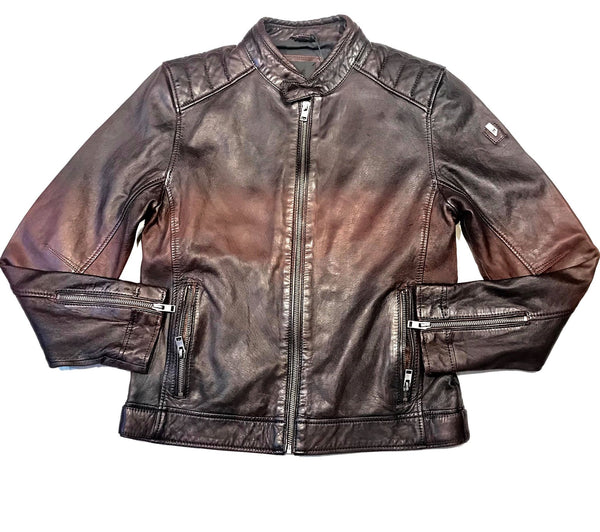 Mauritius Chocolate Brown Soft Lambskin Leather Jacket