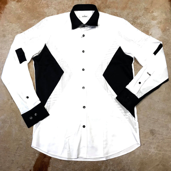 Mondo Monochrome White Geometric Button Up Shirt - Dudes Boutique