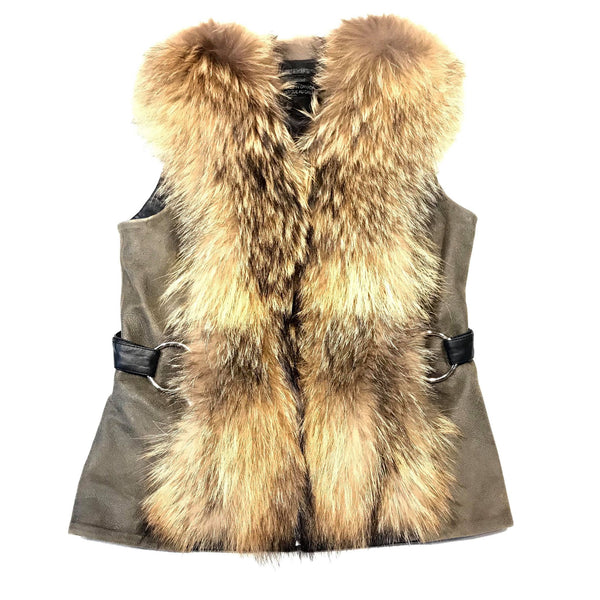 Wolfie Women's Olive Leather Fox Fur Vest