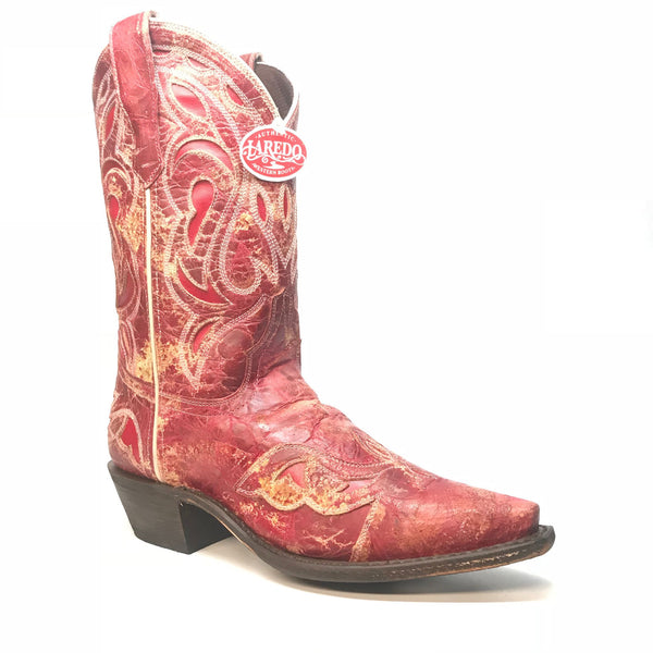 Laredo Women's  Red Leather Stitched  Cowgirl Boots