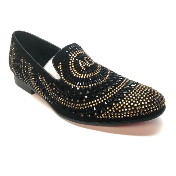 Fiesso Gold Black AG Crystal Red Bottom Loafers