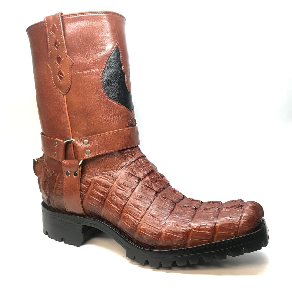 Safari Cognac Harness Crocodile Biker Boots - Dudes Boutique
