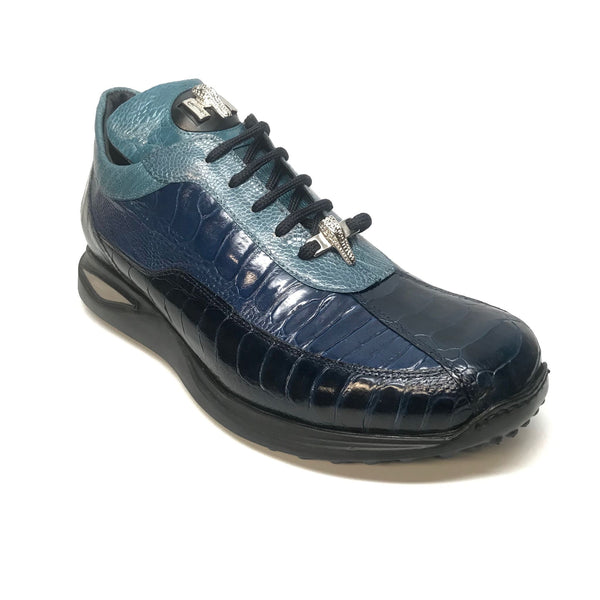 Mauri 8727 Navy Three tone Ostrich Leg Sneakers