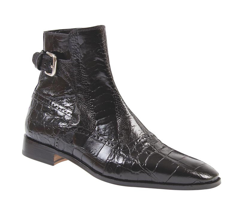 Mauri - 4398 Black Ostrich Leg/Alligator Dress Boot - Dudes Boutique