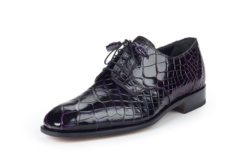 "Mauri - ""4613"" Black/Grape Alligator Dress Shoe - Dudes Boutique"