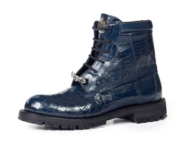 Mauri - 4637 Alligator Body + Ostrich Leg Wonder Blue Combat Boots