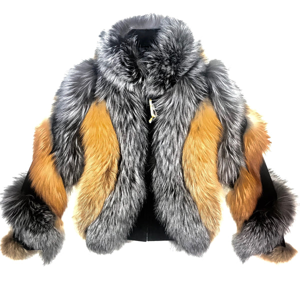 Kashani Ladies Two Tone Fox Fur Coat - Dudes Boutique
