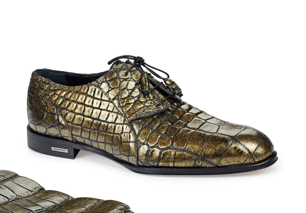 "Mauri - ""4649"" Metallic Brass Alligator Dress Shoe - Dudes Boutique"