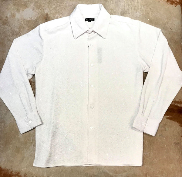 Pronti Men's White Glitter Long Sleeve Dress Shirt - Dudes Boutique