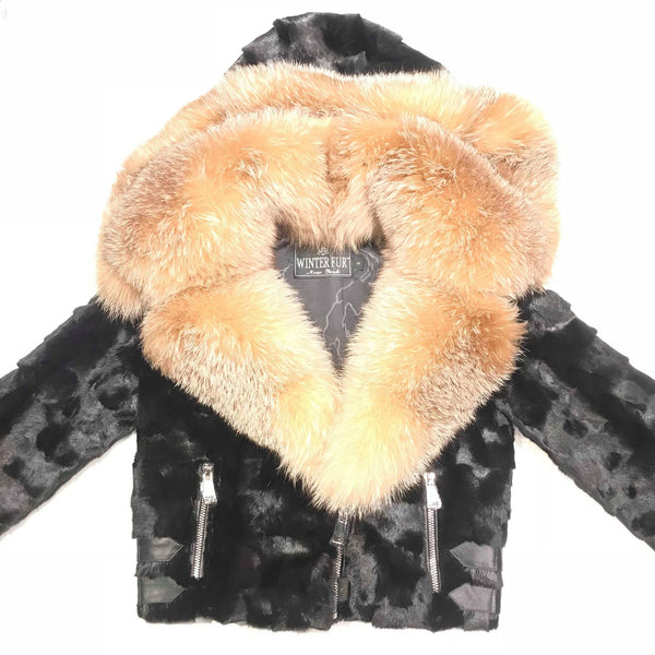 Kashani Mink Oversized Fox Fur Collar Coat