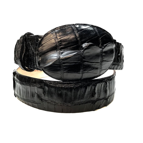 Los Altos Black Crocodile Tail Belt