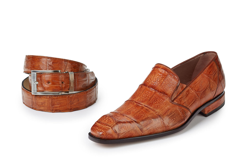 "Mauri - ""4673"" Baby Hornback Crocodile Loafers in Cognac - Dudes Boutique"