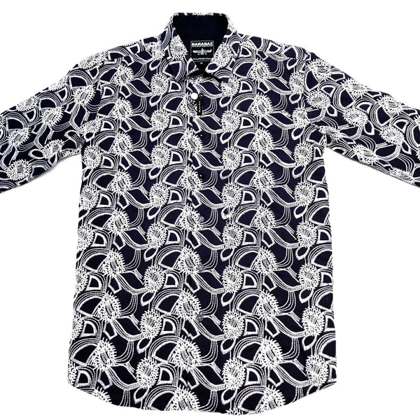 Barabas Blue Jungle Stitched Button Up Shirt - Dudes Boutique