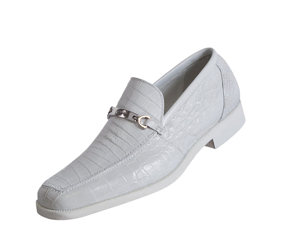 Mauri 4692 White All Over Alligator Formal Loafers