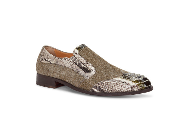 "Mauri - 4748 ""Spiga"" Olive Green Pony/Python Dress Loafer"