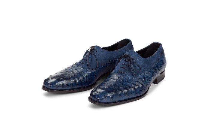 "Mauri - 4762 ""Dante"" Hand-Painted Ostrich/Suede Dress Shoe"