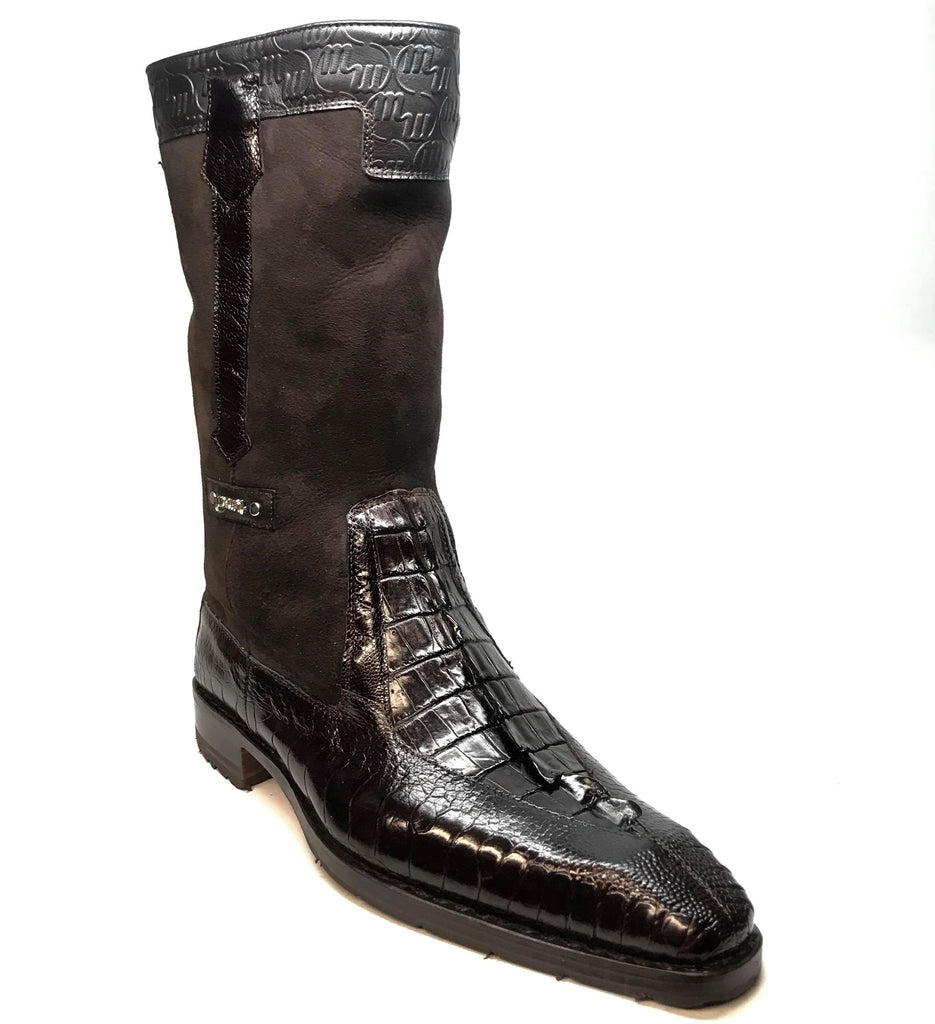 "Mauri ""Masculine"" 2842 Brown Alligator/Ostrich Leg Dress Boots - Dudes Boutique"