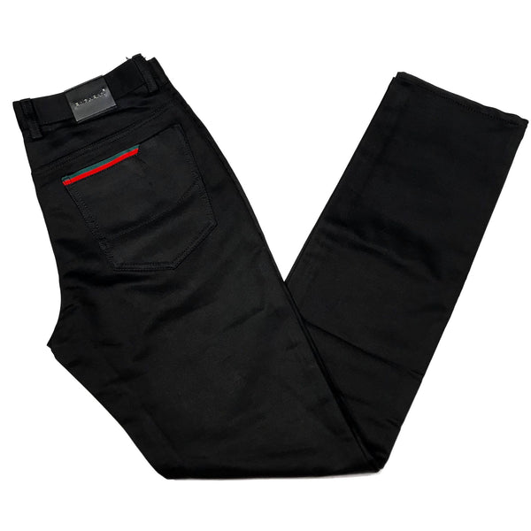 Barabas Italian Flagged Black Trousers - Dudes Boutique