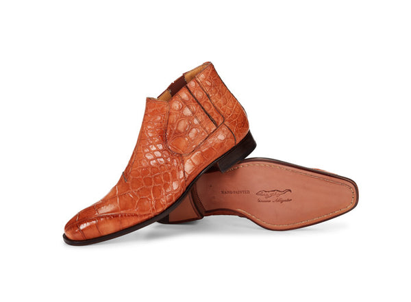 "Mauri - 4780 ""Alberti"" Hand-Painted Cognac Alligator Boot"