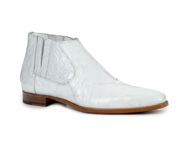 Mauri - 4780 All-Over White Alligator Body Chelsea Boots