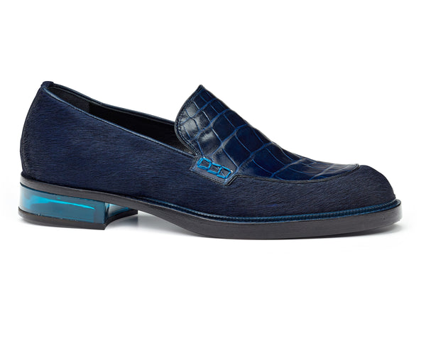 Mauri 4799 Indigo Blue Gallia Alligator & Pony Hair Loafers