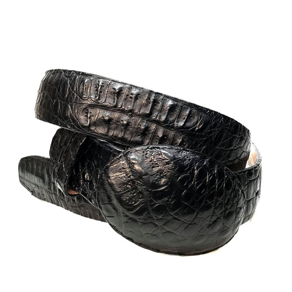 Los Altos Black Hornback Crocodile Belt