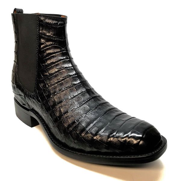 Safari Men's Black Crocodile Belly Chelsea Boots