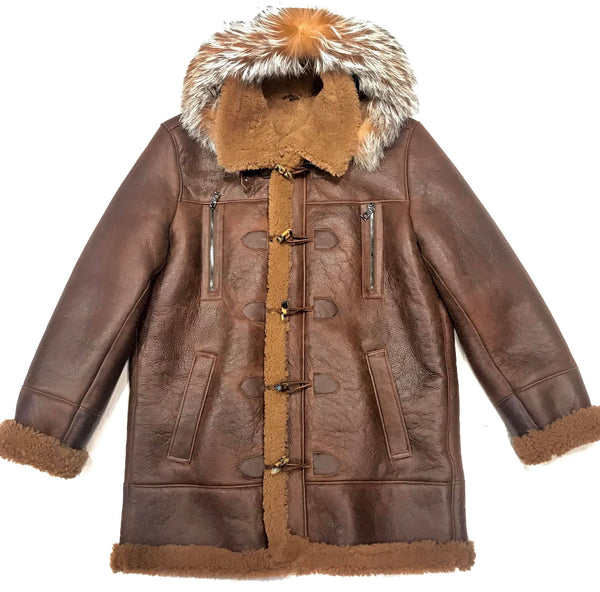 Kashani Chocolate Duffel Fox Hooded Shearling Jacket - Dudes Boutique