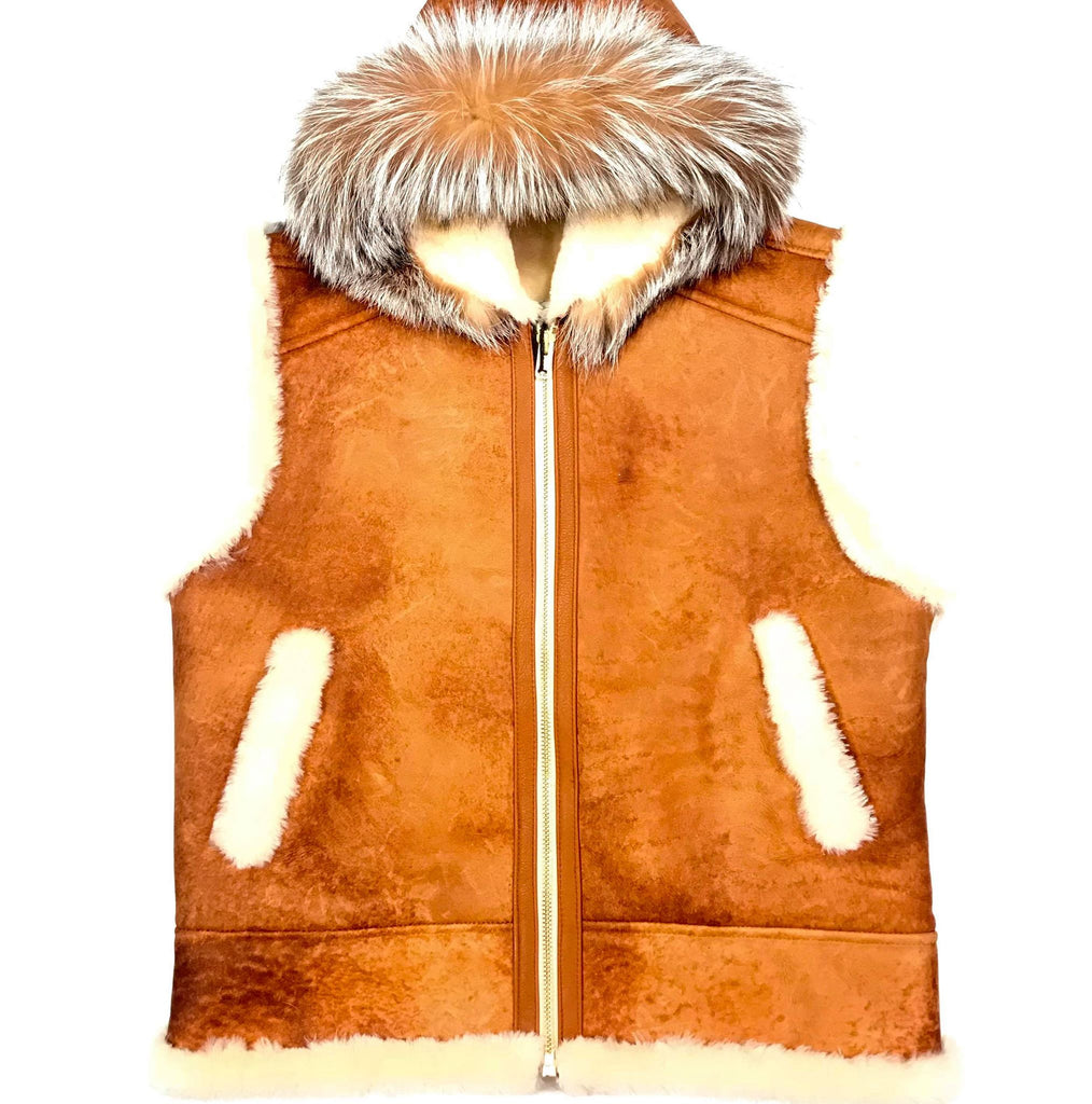Kashani Whisky Fox Hooded Shearling Vest - Dudes Boutique