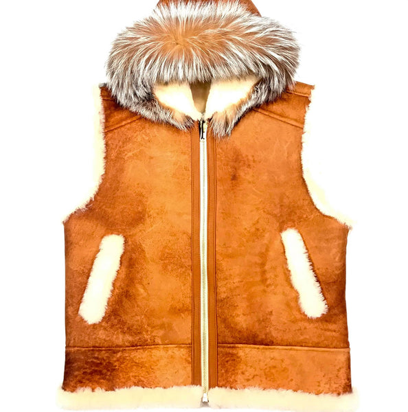 Kashani Whisky Fox Hooded Shearling Vest