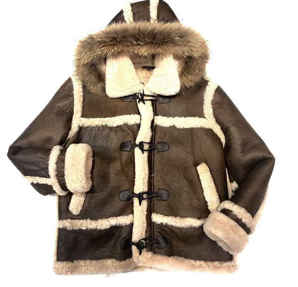 Kashnai Deep Chocolate Duffel Fox Hooded Long Shearling Jacket - Dudes Boutique