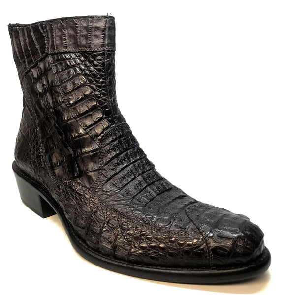 Calzoleria Toscana Black Full Hornback Alligator Ankle Boots - Dudes Boutique