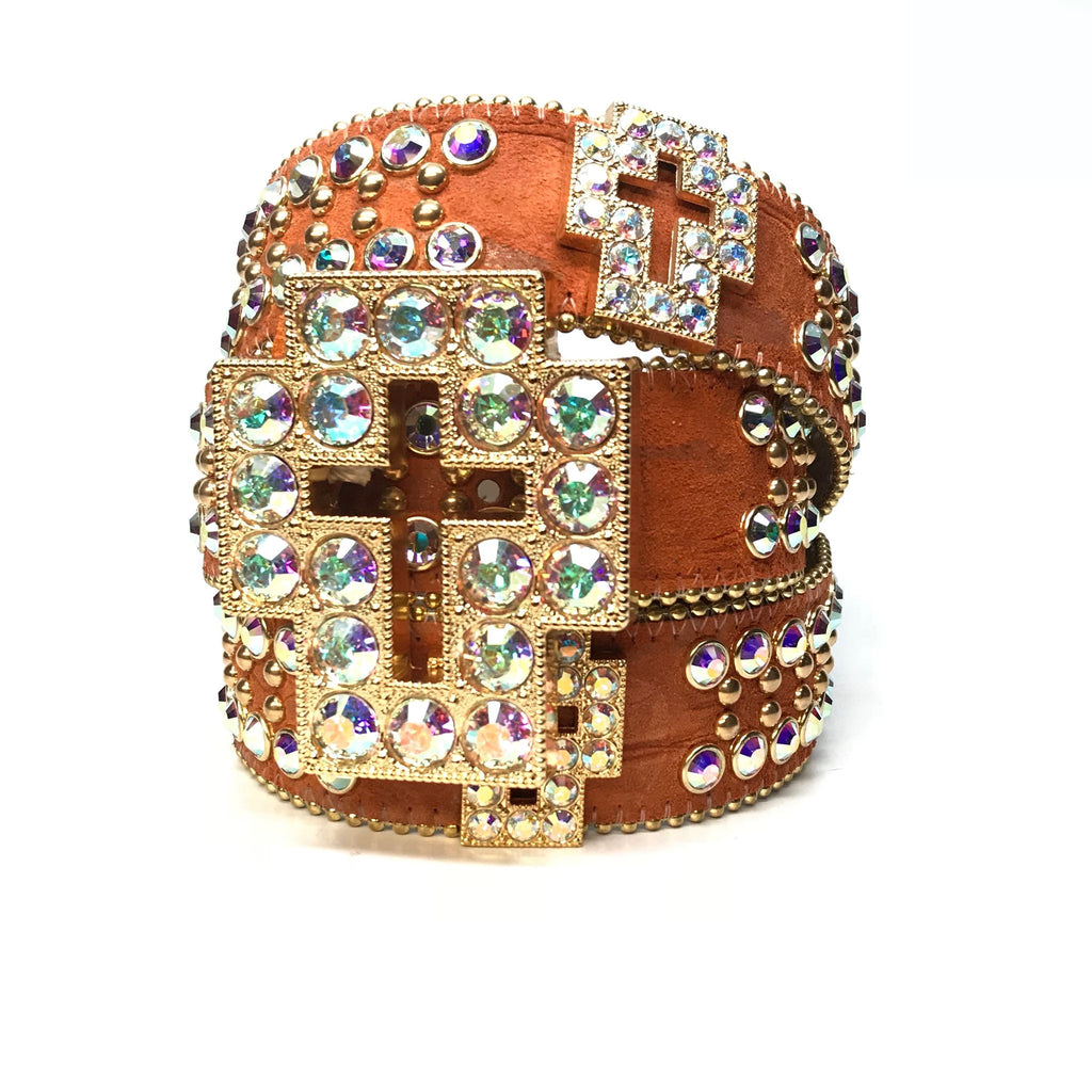 b.b. Simon 'Gold Cross' Swarovski Crystal Belt - Dudes Boutique