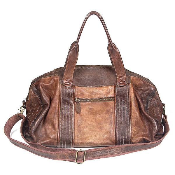 Amsterdam Heritage Leather Weekender Camel Duffle Bag - Dudes Boutique