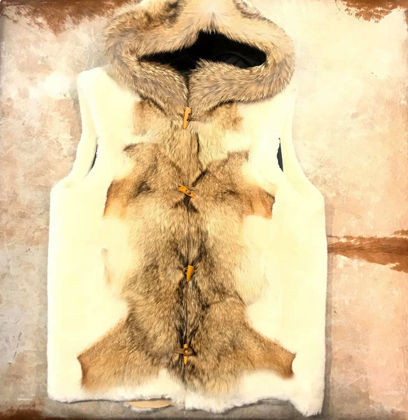 Kashani Cream Mouton Fox Shearling Vest