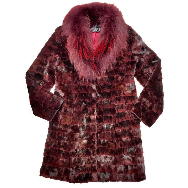 Winter Fur Women's Wine Red Full 3/4 Mink Fur Coat