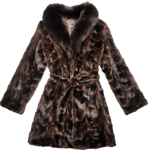 Winter Fur Women's Chocolate Brown 3/4 Mink Fur Coat