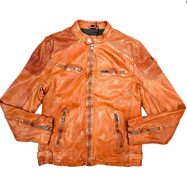 Mauritius Cognac Double Zip Leather Jacket