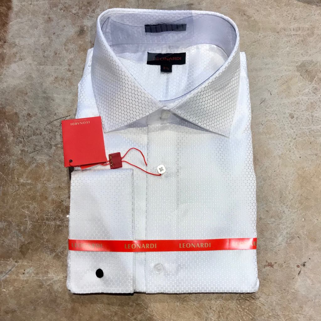 Leonardi 'White Dove' French Cuff Button Up Shirt
