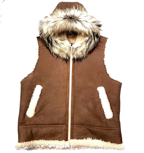 Kashani Brown Fox Fur Shearling Vest