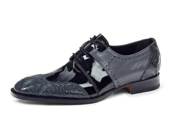 Mauri - 53130 Charcoal Baby Crocodile/Patent Dress Shoes