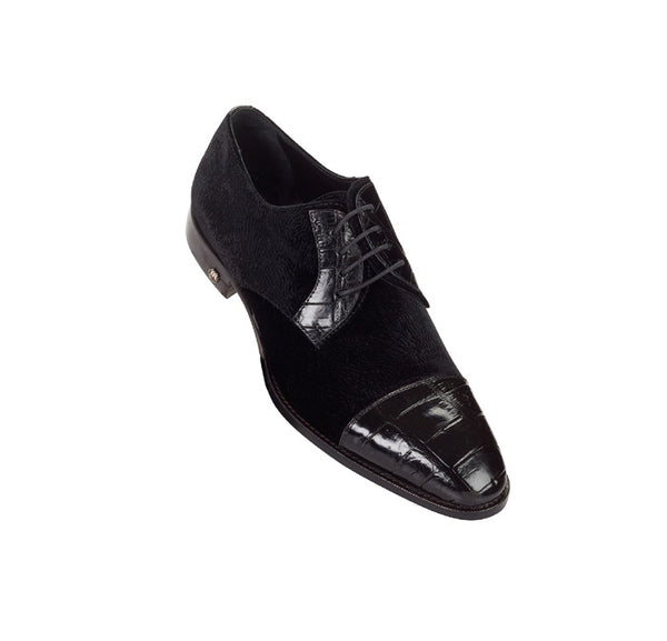 "Mauri - 53164 ""Ticinese"" Black Alligator/Moiré Dress Shoe"